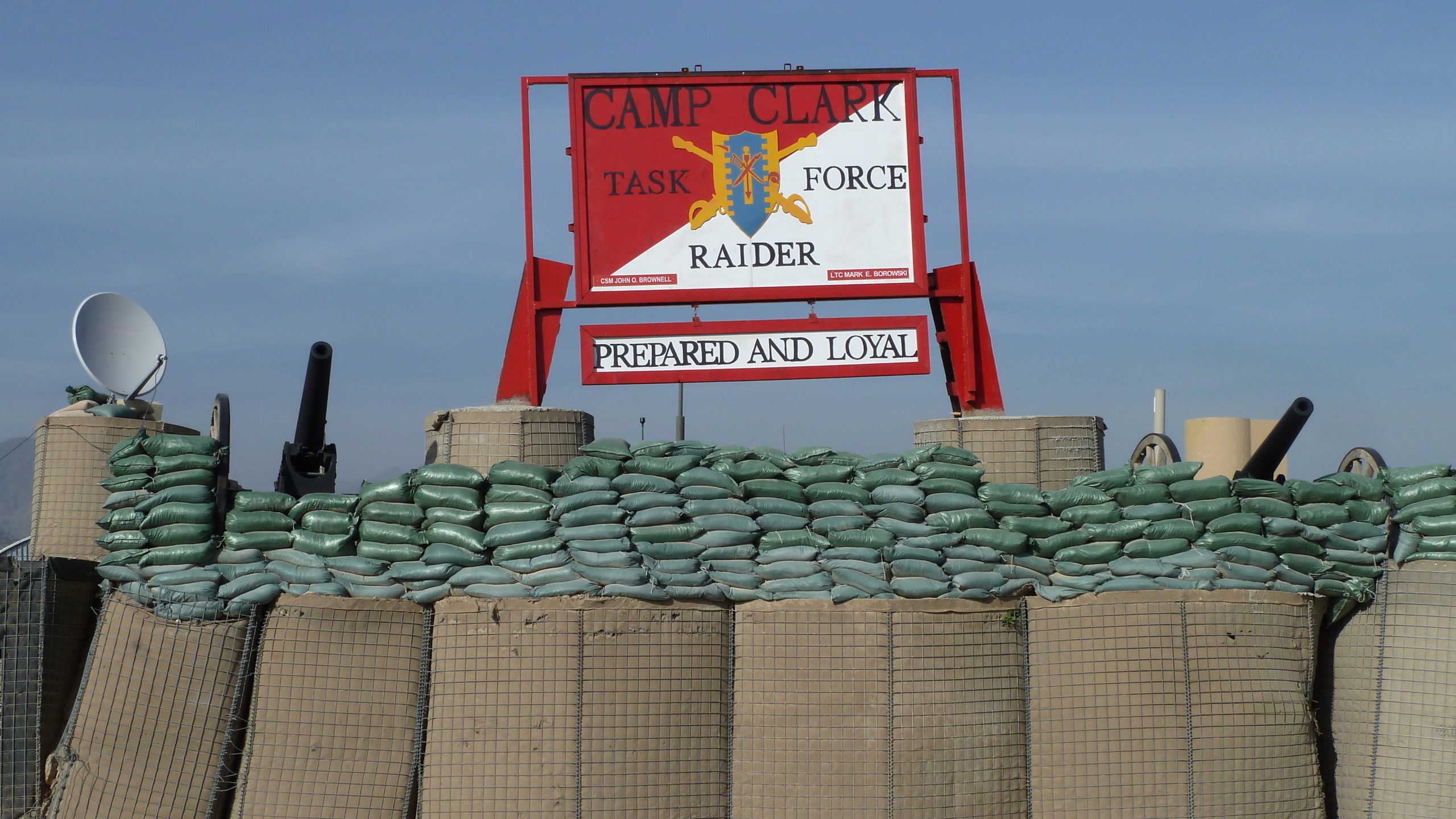 Sign of Forward Operating Base outpost in Afghanistan