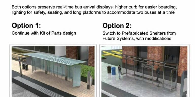 Graphic comparing the two options for bus bays